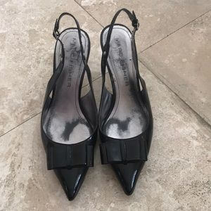 Marc Fisher Black Slingback Pump with Bow